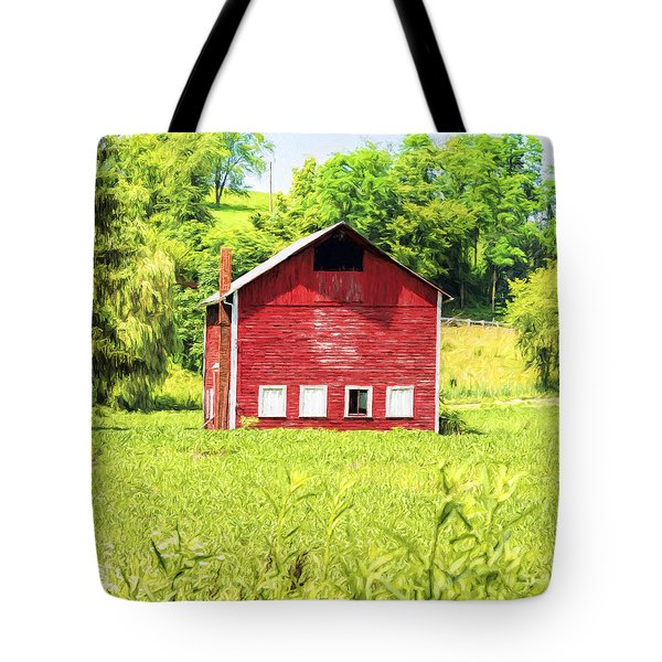 Tote Bag featuring the photograph Blazing Barn by Anthony Baatz