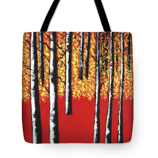 Blazing Birches Tote Bag