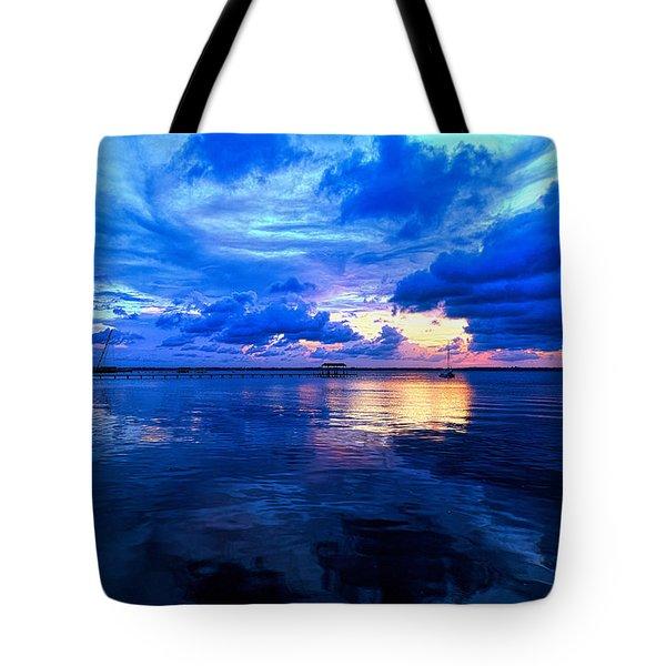 Blazing Blue Sunset Tote Bag