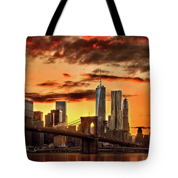 Blazing Manhattan Skyline Tote Bag