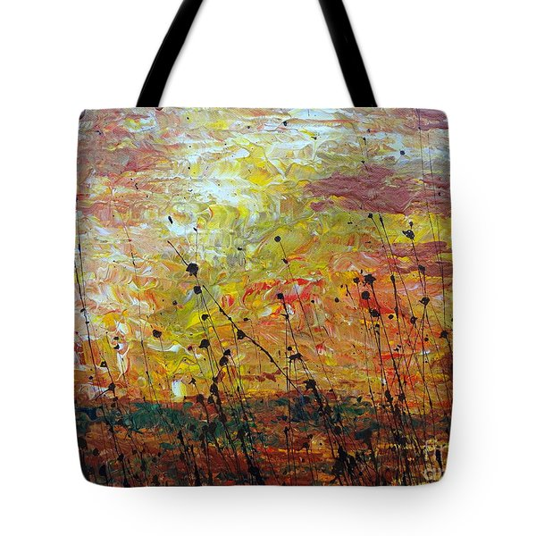 Tote Bag featuring the painting Blazing Prairie by Jacqueline Athmann