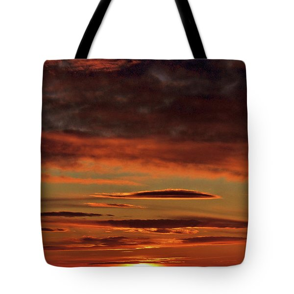 Tote Bag featuring the photograph Blazing Sunset by Bryan Carter