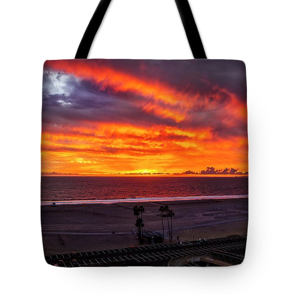 Blazing Sunset Over Malibu Tote Bag