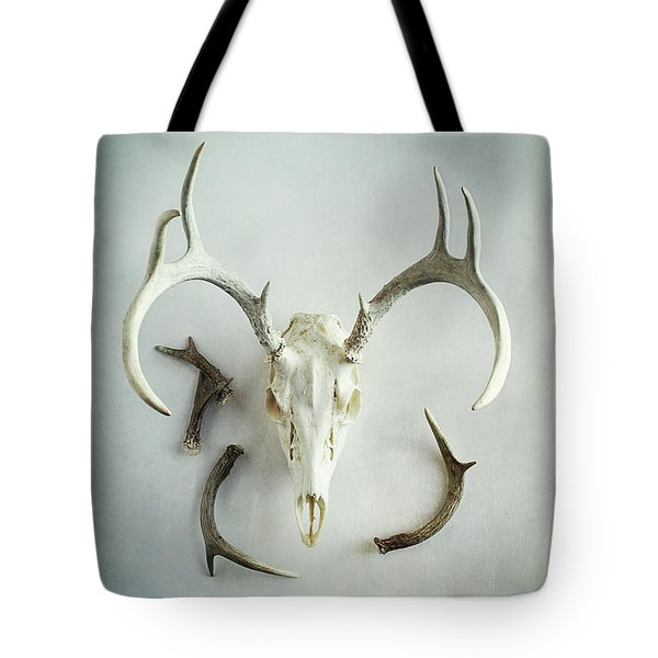 Tote Bag featuring the photograph Bleached Stag Skull by Stephanie Frey