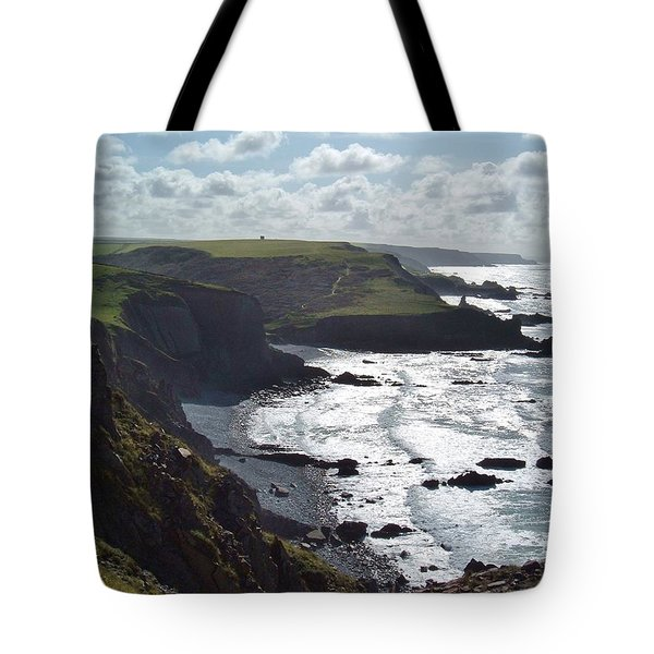 Blegberry Cliffs From Damehole Point Tote Bag by Richard Brookes