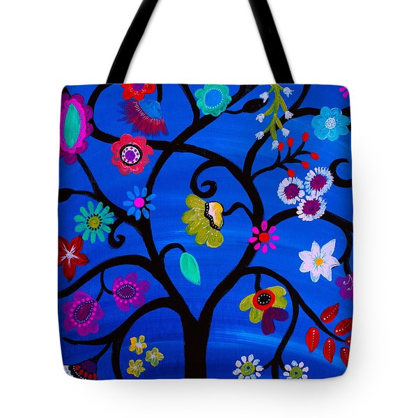 Tote Bag featuring the painting Blessed Tree Of Life by Pristine Cartera Turkus
