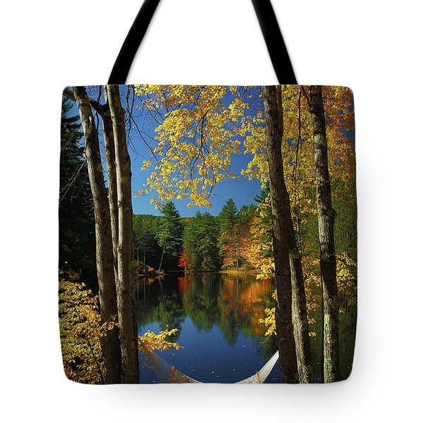 Bliss - New England Fall Landscape Hammock Tote Bag by Jon Holiday