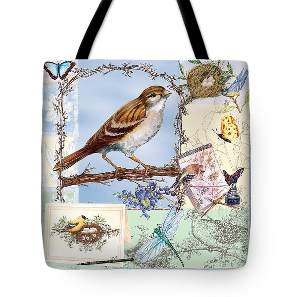 Blissful Birds In Blue Tote Bag