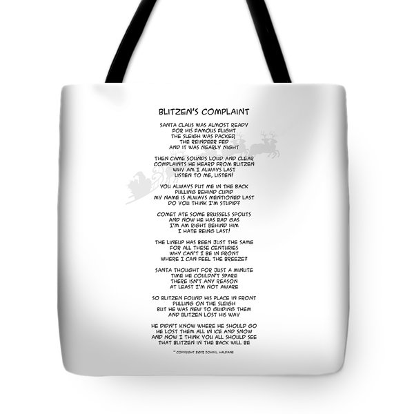 Tote Bag featuring the drawing Blitzens Complaint by John Haldane