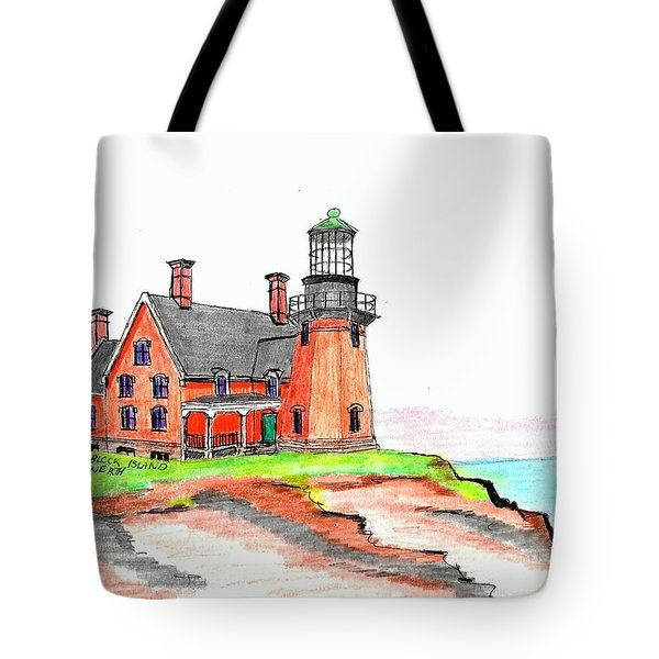 Block Island South Lighthouse Tote Bag