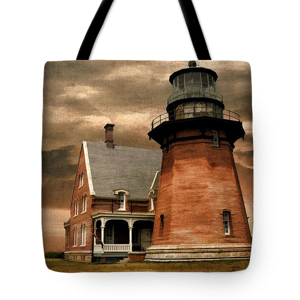 Block Island Southeast Light Tote Bag by Lourry Legarde
