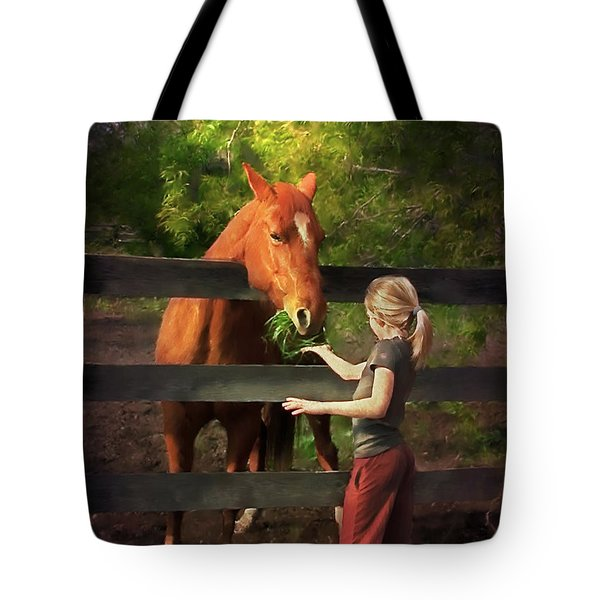 Blond With Horse Tote Bag