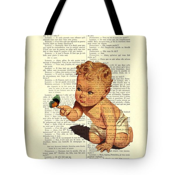 Baby Boy With Butterfly Nursery Art Tote Bag