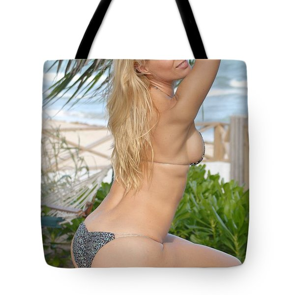 Blonde Beach Babe Tote Bag