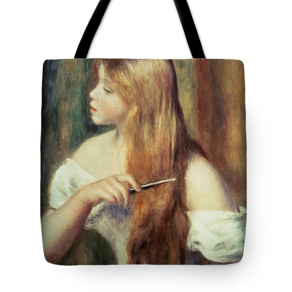 Blonde Girl Combing Her Hair Tote Bag by Pierre Auguste Renoir