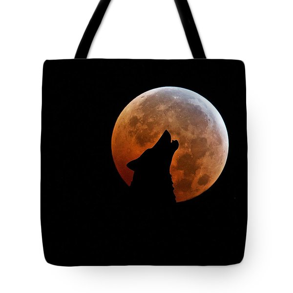 Blood Full Moon And The Wolf Tote Bag