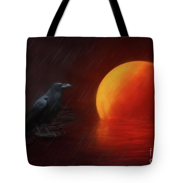 Blood Moon Crow Tote Bag