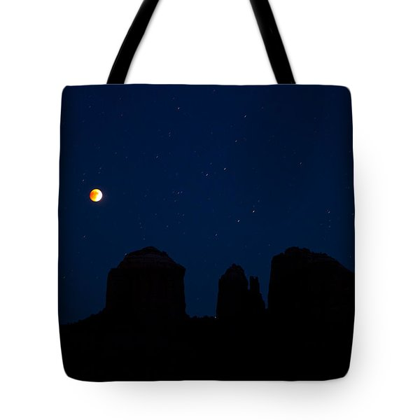 Tote Bag featuring the photograph Blood Moon Over Cathedral by Tom Kelly