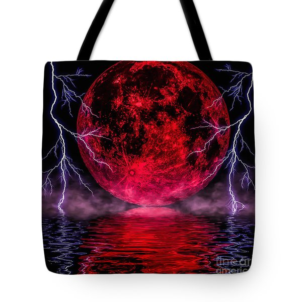 Blood Moon Over Mist Lake Tote Bag