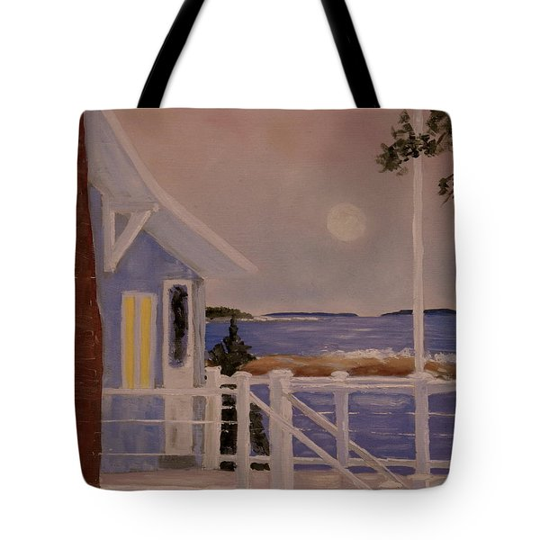 Blood Moon Over Muscongus Sound Tote Bag