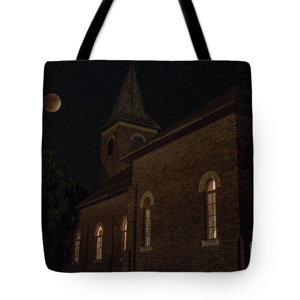 Tote Bag featuring the photograph Blood Moon Over St. Johns Church by Keith Kapple
