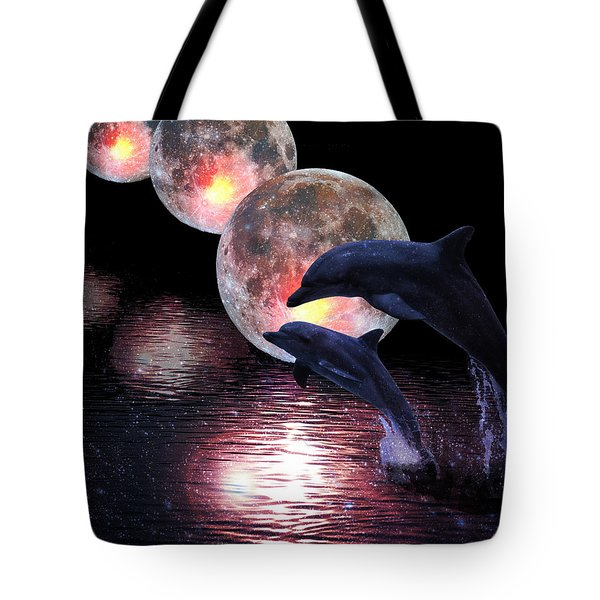 Dolphins In The Moonlight Tote Bag