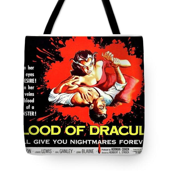 Blood Of Dracula, Vampire Woman Attack Tote Bag