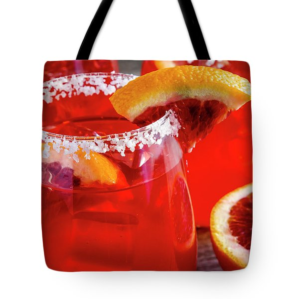 Tote Bag featuring the photograph Blood Orange Margaritas On The Rocks by Teri Virbickis