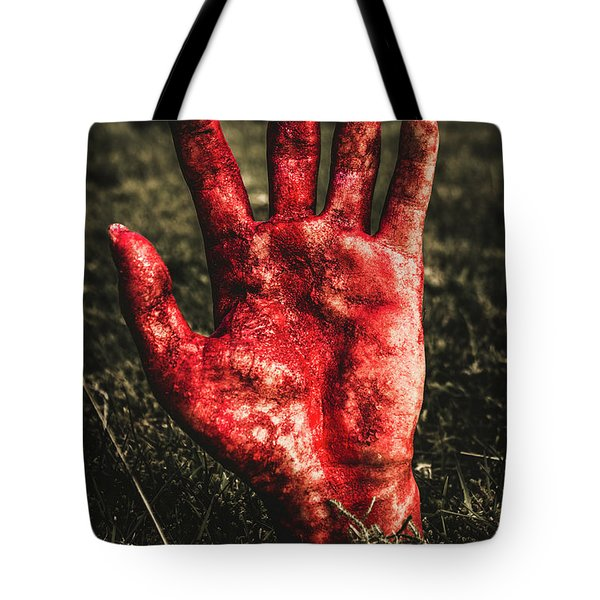 Blood Stained Hand Coming Out Of The Ground At Night Tote Bag