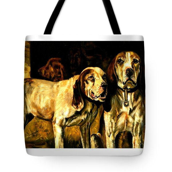 Tote Bag featuring the painting Bloodhounds Lou Ellen Chattin 1914 by Peter Gumaer Ogden