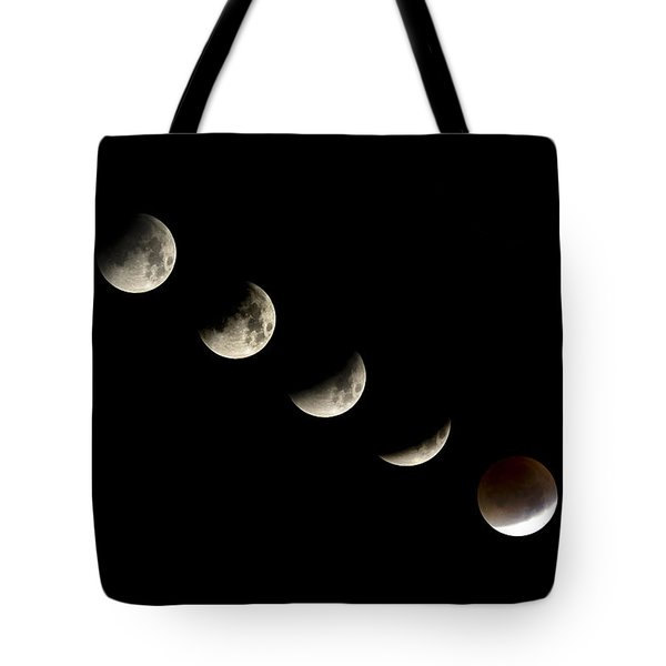 Bloodmoon Lunar Eclipse With  Phases Composite Tote Bag