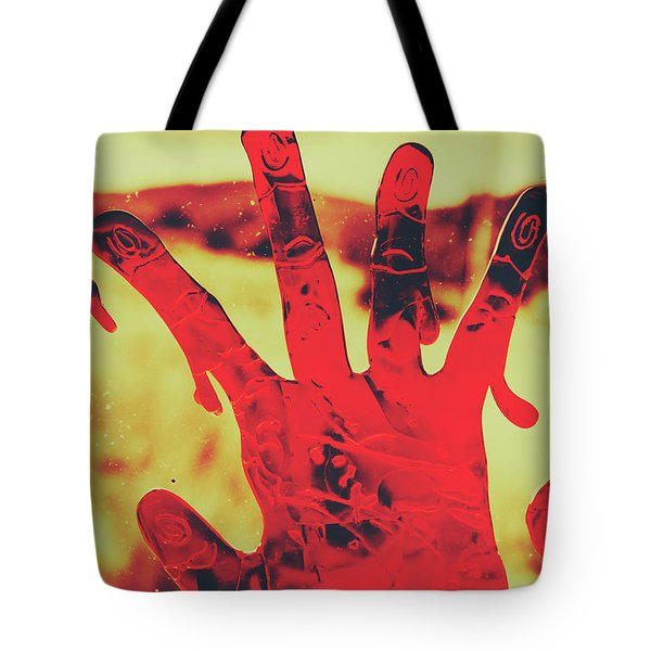 Bloody Halloween Palm Print Tote Bag