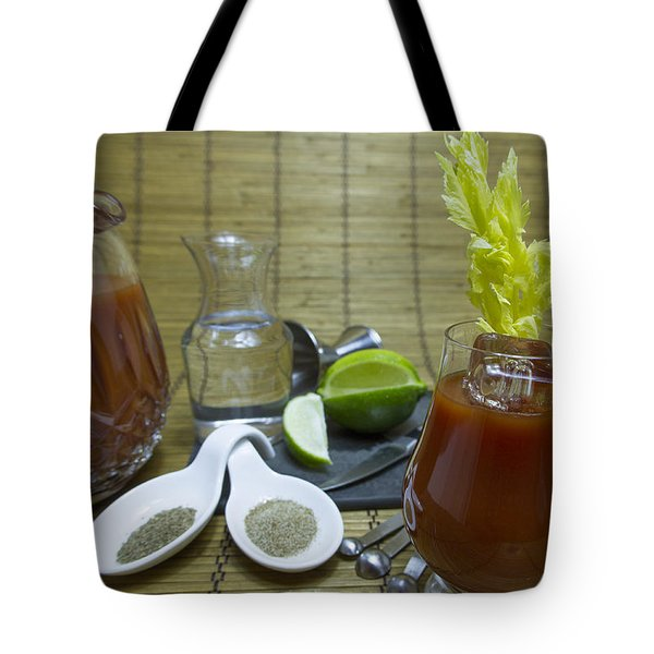 Bloody Mary Cocktail With Ingredients Tote Bag by Karen Foley