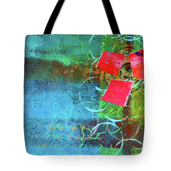 Tote Bag featuring the mixed media Bloom Abstract Collage by Nancy Merkle