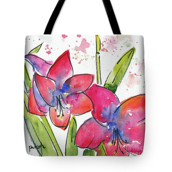 Tote Bag featuring the painting Blooming Amaryllis by Pat Katz