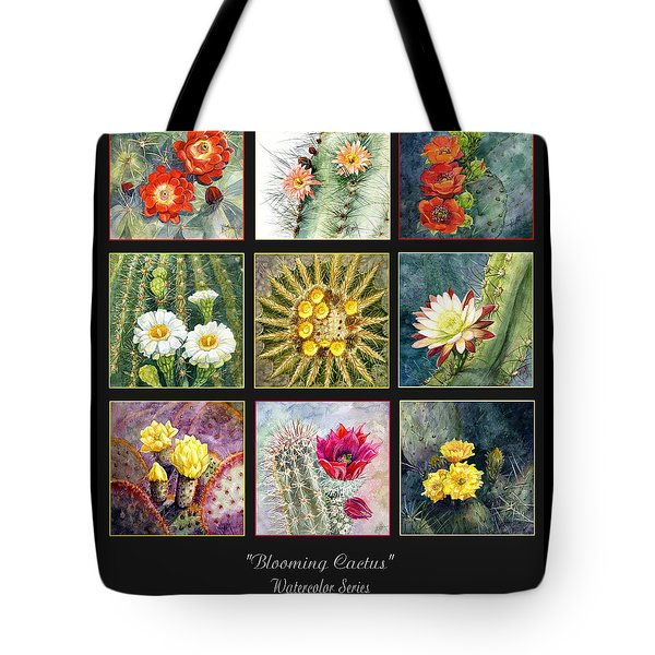 Tote Bag featuring the painting Blooming Cactus by Marilyn Smith