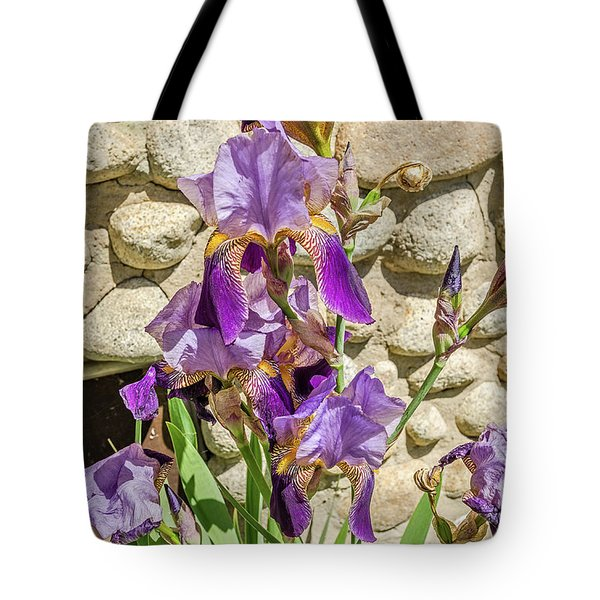 Tote Bag featuring the photograph Blooming Purple Iris by Sue Smith