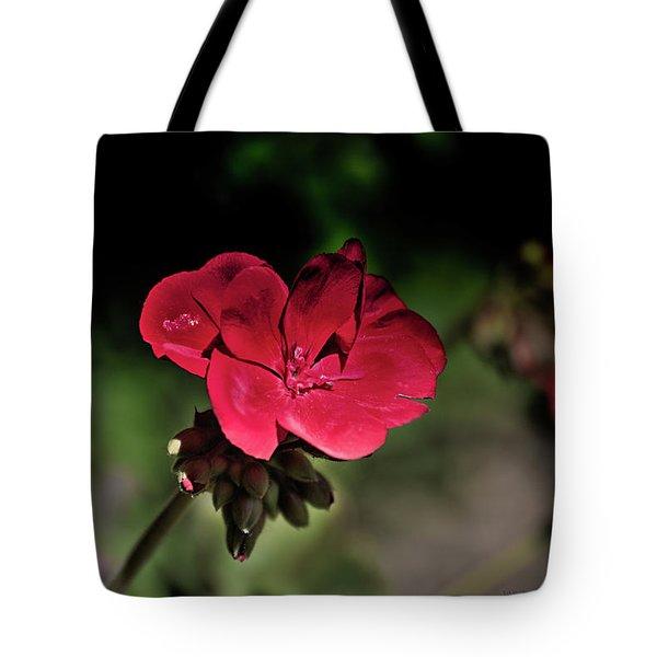 Blooming Red Geranium Tote Bag