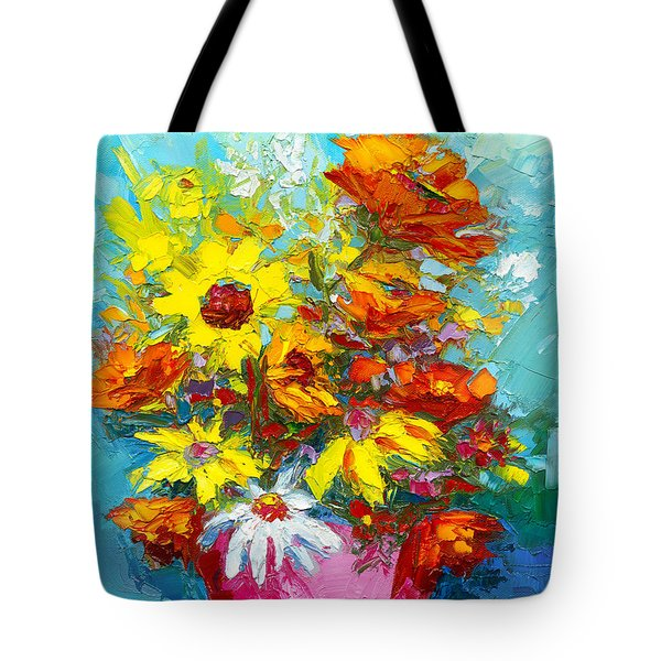 Tote Bag featuring the painting Colorful Wildflowers, Abstract Floral Art  by Patricia Awapara
