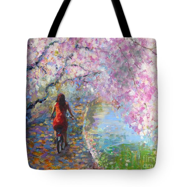 Blossom Alley Impressionistic Painting Tote Bag by Svetlana Novikova