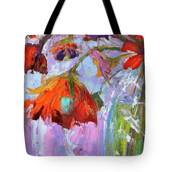 Tote Bag featuring the painting Blossom Dreams In A Vase Oil Painting, Floral Still Life by Patricia Awapara