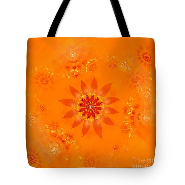Tote Bag featuring the digital art Blossom In Orange by Richard Ortolano