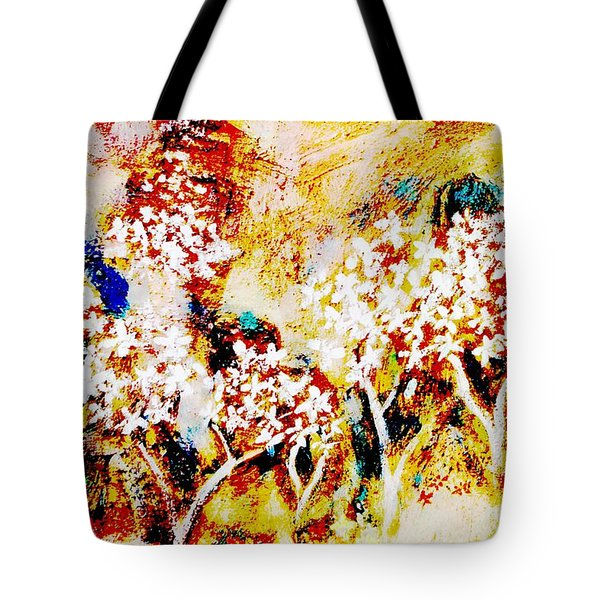 Tote Bag featuring the painting Blossom Morning by Winsome Gunning