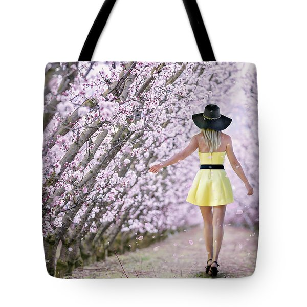 Blossoms Falling Like Snow Tote Bag