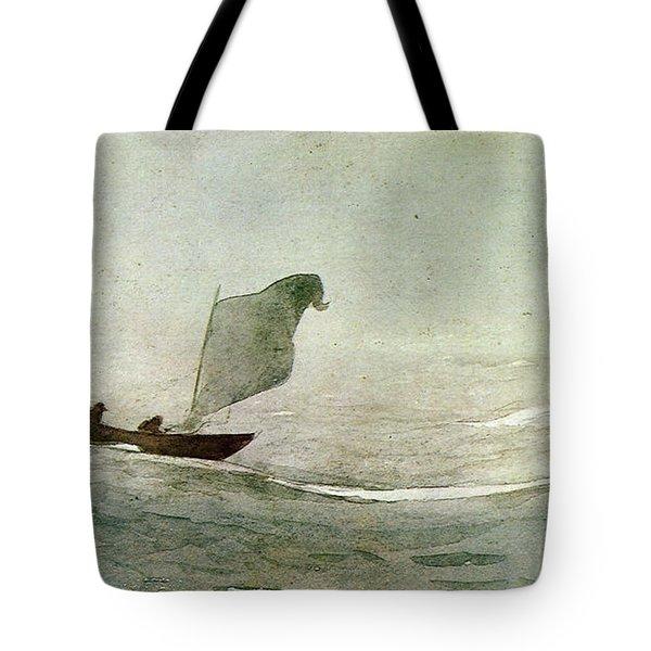 Blowen Away Tote Bag by Winslow Homer