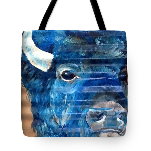 Tote Bag featuring the painting Blu Bison by Patty Sjolin