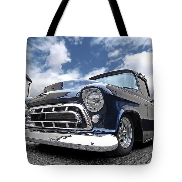 Blue 57 Stepside Chevy Tote Bag