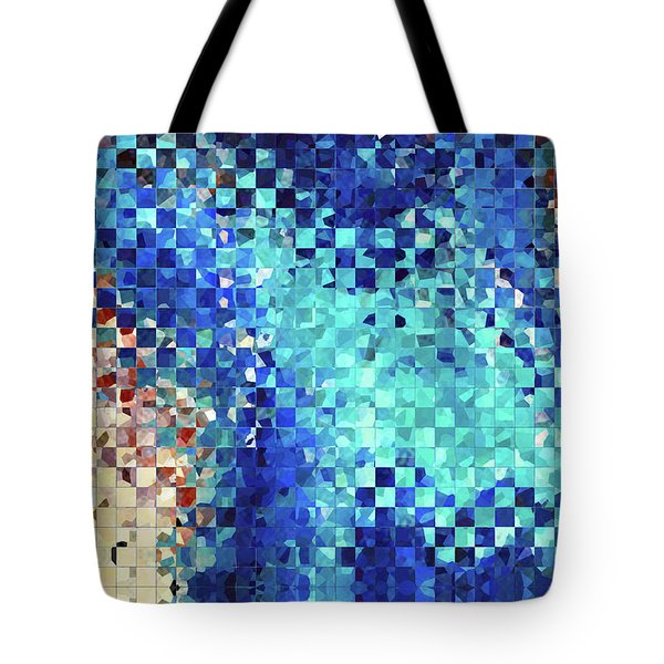 Tote Bag featuring the painting Blue Abstract Art - Pieces 2 - Sharon Cummings by Sharon Cummings