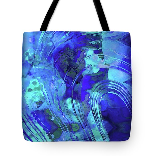 Tote Bag featuring the painting Blue Abstract Art - Reflections - Sharon Cummings by Sharon Cummings