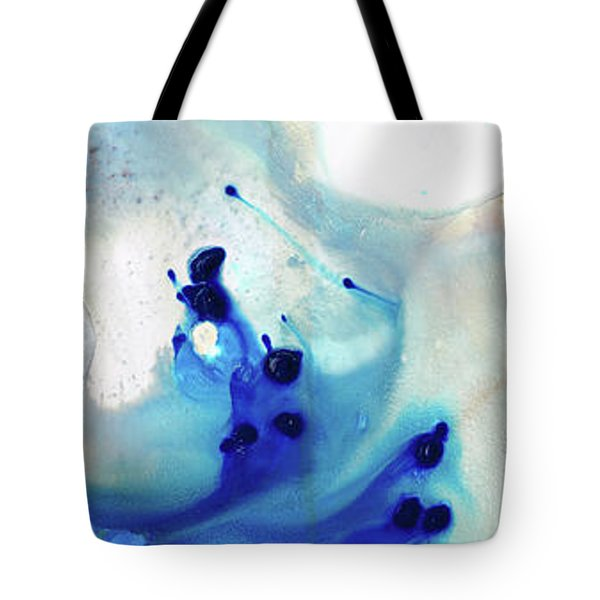 Tote Bag featuring the painting Blue Abstract Art - The Long Wave - Sharon Cummings by Sharon Cummings